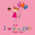 Best wishes girl with a present celebrating father s day on pink background Royalty Free Stock Photography