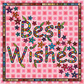 Best wishes illustration design card pink color frame flowers leaves background graphic Stock Photos
