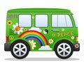 Bestelwagen van de Hippie van het beeldverhaal Retro Stock Afbeelding