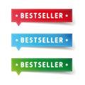 Bestseller label set vector blue red green Stock Image
