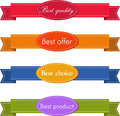 Bestseller set of red superior quality and satisfaction guarantee ribbons labels tags retro vintage style Royalty Free Stock Images