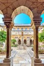 Bethlehem, Israel, 14th September 2017, View of the patio in the church or Nativety, from the monastery, outside is a green garden Royalty Free Stock Photo