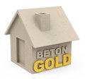 Beton gold d generated picture of a concrete house and german word Royalty Free Stock Images