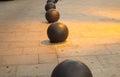 Betonowe czarne piłki Zdjęcia Royalty Free