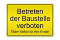 Betreten der baustelle verboten illustration of a typical german construction site sign german do not enter the construction site Royalty Free Stock Photo
