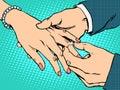 Betrothal wedding bride groom gold ring Royalty Free Stock Photo