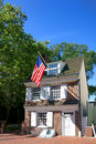 Betsy ross house in old philadelphia pennsylvania the historic tourism landmark with hanging american flag city Royalty Free Stock Images