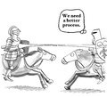 Better process business cartoon showing two knights jousting on horseback we need a Royalty Free Stock Photos