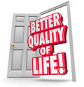 Better quality of life improve situation open door d words in an to illustrate improving or increasing your level pleasure joy Royalty Free Stock Images
