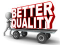 Better quality on a platform cart pushed by a little man Royalty Free Stock Photos