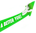 A better you d words man riding green arrow self improvement he on and it upward to illustrate or help to achieve and succeed in Stock Photography