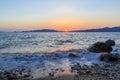 Beuatiful waves of mediterranean sea during sunset near hisaronu, marmaris
