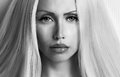 Beuty face beauty close up picture long hair black and white portrait Royalty Free Stock Images