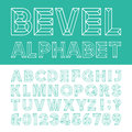 Beveled Alphabet Vector Font. Royalty Free Stock Photo