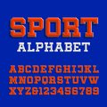 Beveled alphabet vector font. Retro sport style typeface for your design. Royalty Free Stock Photo