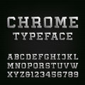 Beveled Chrome Alphabet Vector Font. Royalty Free Stock Photo