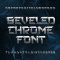 Beveled metal alphabet font. Chrome effect letters and numbers on abstract polygonal background. Royalty Free Stock Photo