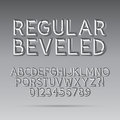 Beveled outline font and digit eps vector editable for any background Stock Photo