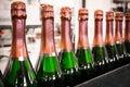 Beverage bottles drink a conveyor manufacturing plant Royalty Free Stock Images
