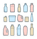 Beverage container icons set of used and empty containers Royalty Free Stock Image