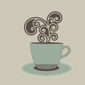 Beverage in cup with steam coil soft antique colors Stock Image