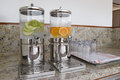 Beverage dispenser with cold water and  fresh fruits. Royalty Free Stock Photo