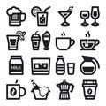 Beverage flat icons. Black Royalty Free Stock Photo