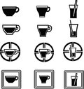 Beverage icons silhouette of created in vector format Royalty Free Stock Images