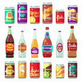 Beverage soft and energy drinks vector flat icons. Drink bottle and can set