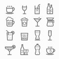 Beverage symbol line icon set on white background vector illustration Stock Images