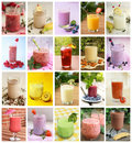 Beverages collage showing differents drink like smoothies milk and juices Stock Photography