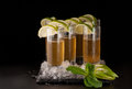 Beverages on a dark background Royalty Free Stock Photo