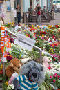 Bewailing the boeing shot down kiev ukraine july people brought flower and toys to embassy of netherlands after malaysia airlines Royalty Free Stock Image