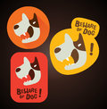 Beware of dog sign design label sticker Royalty Free Stock Photos
