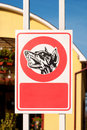 Beware of the dog sign in front a private property Stock Photo