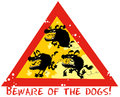 Beware of the dogs funny symbol Stock Photos