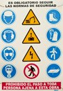 Beware of multiple danger sign in spain Royalty Free Stock Photos