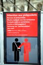 Beware of pickpockets sign announcing visitors to the louvre museum to in many languages Royalty Free Stock Photos