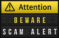 Beware Scam Alert message Royalty Free Stock Photo