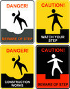 Beware of step, falling man - warning sign Stock Photo
