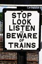Beware of trains sign old black and white retro severn valley railway highley worcestershire england uk western europe Stock Photos