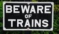 Beware of trains sign old fashioned rectangular hampton loade shropshire england uk western europe Royalty Free Stock Photos