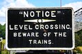 Beware of trains sign old retro severn valley railway highley worcestershire england uk western europe Royalty Free Stock Photography