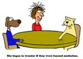 Beyond mediation cartoon about two opposite points of view they were Stock Photo