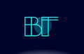 bf b f blue line circle alphabet letter logo icon template vecto
