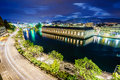 BFM, cathedral tower and Rhone river, Geneva Royalty Free Stock Photo