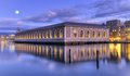 Bfm and rhone river geneva switzerland hdr by night with full moon Stock Image