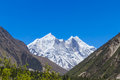 The bhagirati peaks in indian himalayas as visible from ganges glacier valley Royalty Free Stock Photos