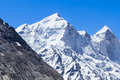 The bhagirati peaks in the indian himalayas as visible from ganges glacier valley Stock Image