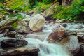 Bhagsu waterfall bhagsu himachal pradesh india vintage retro hipster style travel image of cascade of in himalayas polarizer Stock Image
